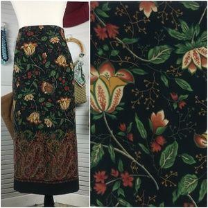 Vintage Briggs Faux Suede Floral Paisley Skirt